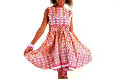 Pink African Print Short Dress