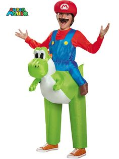 Boys Super Mario Brothers Mario Riding Yoshi Inflatable Costume | Wholesale Video Games Costumes for Boys