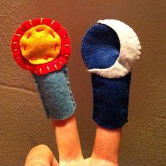Títeres del sol y la luna, podemos trabajar los contrarios (día y noche)