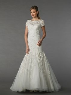 MZ2 by Mark Zunino Illusion Mermaid Gown in Embroidery | KleinfeldBridal.com