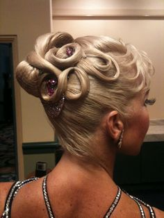 Standard dancesport updo Mom got super good at this while I was competing heavily. :D