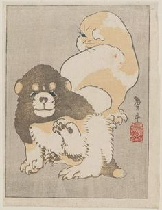 Katsushika Taito II: Puppies - Museum of Fine Arts Old Paintings, Japanese Painting, Japanese Prints, Japan Art, Museum Of Fine Arts, Woodblock Print, Chinese Art, Mothers, Cool Art