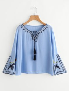 SheIn offers Tassel Tie Neck Embroidery Blouse & more to fit your fashionable needs. Girls Fashion Clothes, Girl Fashion, Fashion Outfits, Discount Womens Clothing, Dresses Australia, Ladies Dress Design, Colorful Fashion, Blouse Designs, Blouses For Women