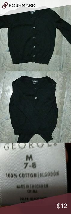 Girls cardigan Little girls size M7-8 black button down cardigan George Jackets & Coats