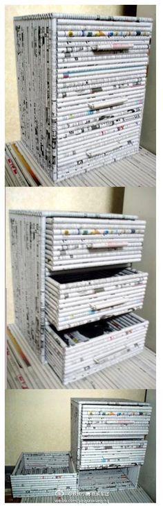 DIY A Dresser! WOW! Recycled newspaper.