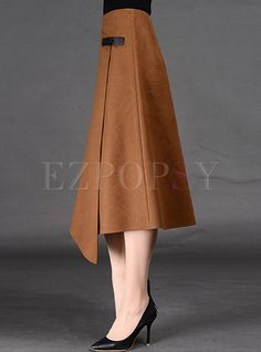 Shop for high quality Asymmetric A-Line Split Wool Skirt online at cheap prices and discover fashion at Ezpopsy.com Hijab Dress Party, Saree Dress, Diy Circle Skirt, Filipiniana Dress, Umbrella Skirt, Split Skirt, Wool Skirts, Skirt Pants, Dress Skirt