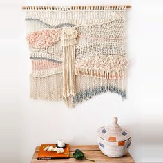 Commissioned peach, cream & grey #macrame #wallhanging #ranrandesign #homedeco #textile #texture #handdyed