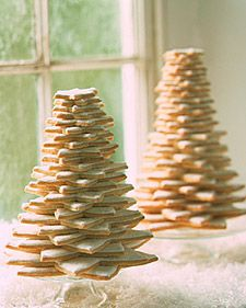 "Simple Sugar Cookie Trees. These ""trees"" are made from stacks of sugar cookies coated with white icing.    See our Royal Icing recipe."