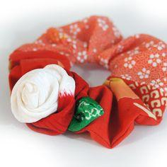 Japanese Kimono fabric scrunchie with Kimono by hotdogandbun, $14.00