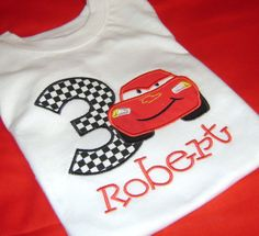 Cars Lightning McQueen Birthday Shirt Embroidery by momof5hs63, $22.00
