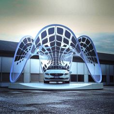 Volvo Pure Tension Solar Pavilion.  Designed by SDA and fabricated by Semios Studios.  Launched in Italy