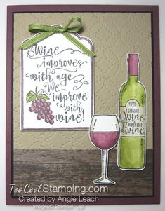 Half full wine improves with age bar - red Wine Bottle Tags, Wine Tags, Birthday Greetings, Birthday Cards, Wine Birthday, Birthday Gifts For Husband, Coffee Cards, Stamping Up Cards, Cool Cards