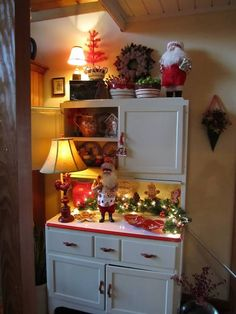 hoosier cabinet decked out for Christmas