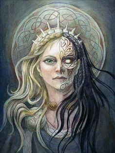 Hel, Daughter of Loki.  Guardian of the dead. We can't all go to Valhalla sadly, but I for one have no fear of an eternity under her beautiful gaze. For the likelihood of my death in battle is slim these days, my selection for the hall of heroes even slimmer but I shall rejoice in a good and bravely met death none the less and come Ragnarok  I'll paint her sly smile on my shield, that smile which is so much like her fathers.