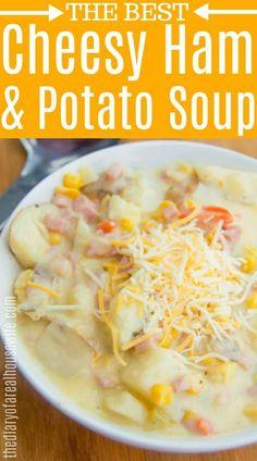 Cheesy Ham and Potato Soup soup soup soup healthy recipes froide legumes minceur potimarron Ham And Potato Soup, Ham Soup, Soup With Ham, Cheesy Potatoes, Baked Potatoes, Easy Soup Recipes, Crockpot Recipes, Cooking Recipes, Skillet Recipes