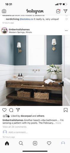 Western Springs, Coastal Cottage, Bathroom Inspiration, Powder Room, Double Vanity, Cool Stuff, Interior, Home, Trough Sink