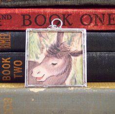Donkey Pendant - Farm Animal - Vintage Book Jewelry - Gray Donkey Necklace Charm - Soldered Charm