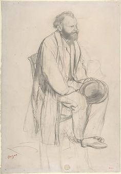 """Edgar Degas (1834-1917) - """"Édouard Manet, Seated, Holding His Hat"""" -  Graphite and black chalk on wove (China) paper - http://www.metmuseum.org/collection/the-collection-online/search/333813"""