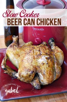 Skip the grill and make the best beer can chicken, or drunken chicken, in the slow cooker Crock Pot. No more trying to wrangle a whole chicken off of a beer can! Season the chicken with a rub and cook over the beer! The easy way to make beer can chicken.