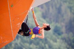 Jain Kim rests to plan route in the Semi Final of the Chamonix Lead Climbing World Cup 2012