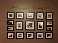 My art wall in our master!  A black and white photo collage.