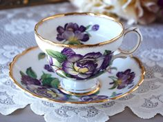 Vintage Rosina English Tea Cup and Saucer, Made in England, Floral Tea Cup Set, Purple Peonies,  Bone China, Tea Party, Gift for Her, 1950s