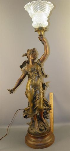 ANTIQUE FRENCH L&F MOREAU FIGURAL BRONZED SPELTER STATUE SCULPTURE LAMP W/SHADE #LFMoreau