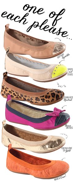 Yosi Samra Flats - like solids mostly, maybe yellow. Not a fan of animal print in general or the toe a different color.