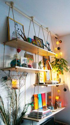 Love these shelves! Diy Home Decor Bedroom, Home Decor Furniture, Diy Hanging Shelves, Rope Shelves, Home Room Design, Design Bedroom, Bedroom Murals, Creative Home, Diy Design