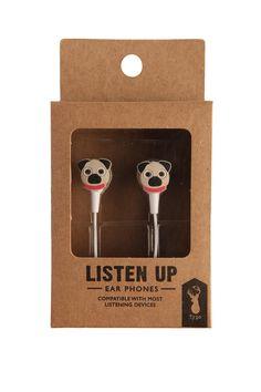 novelty earphones, PUGS