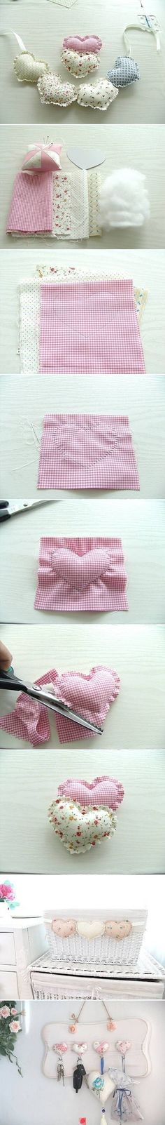 DIY Fabric Heart Pendant by wanda Sewing Tutorials, Sewing Hacks, Sewing Crafts, Sewing Projects, Sewing Patterns, Diy Projects, Diy Crafts, Sewing Ideas, Free Tutorials