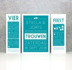 Trouwkaart van karton - strak uitnodiging divers blauw