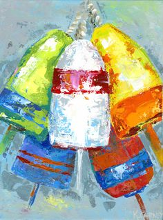 Fine art giclee print of five colorful buoys painted in bright colors with a palette knife. Printed on 100% acid-free archival Somerset Velvet Watercolor paper and signed by artist. Print size is as stated in dimensions; image size is actually less 1 all sides to allow for white space, signature and title.