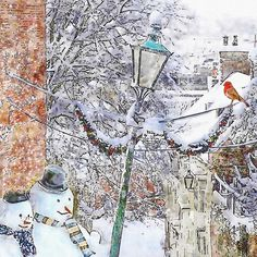 Snowmen on Steep Hill Lincoln Luxury Christmas Card, Greetings Cards Online Very Merry Christmas, Christmas Cards, Unique Cards, White Envelopes, Happy New, Snowman, Card Stock, Original Paintings, Greeting Cards