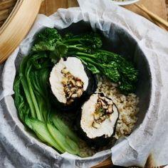Steamed Nori Chicken with Tamari + Ginger Mushrooms