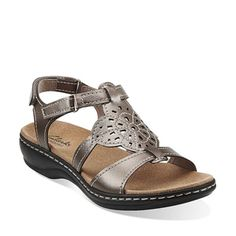 Clarks Originals - Leisa Taffy Pewter Leather $80. Slip your foot into this pretty sandal and you're set for the season. Decorative cutouts add feminine detail, while Bendables flexible construction, extra-soft leather, and an OrthoLite® footbed add comfort. A great basic in pewter leather to wear with skirts, dresses, shorts, and pants.