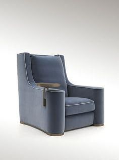 Heritage Collection latest novelty presented in Maison & Objet Paris. A sequence of well-balanced and curved lines define Lika, presented in its newly launched bergère version. Its body-hugging shape is punctuated by wide armrests rounded at the front and by a high seat back. Timeless lines enhanced by blue-grey velvet and  contrasting piping. #Luxury #Living