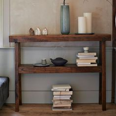 a great little console for that one wall that just needs something.  hang a mirror and store my perfume bottles here.  West Elm.