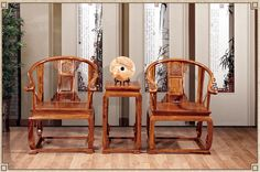 521611103425 Chinese antique mahogany furniture African pear wood table and chairs 2