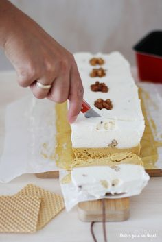 Dulces para un Angel: Helado corte de nata con nueces y toffee (sin heladera)