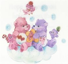 Care Bears: Love-a-Lot Bear & Share Bear Exchanging Christmas Gifts