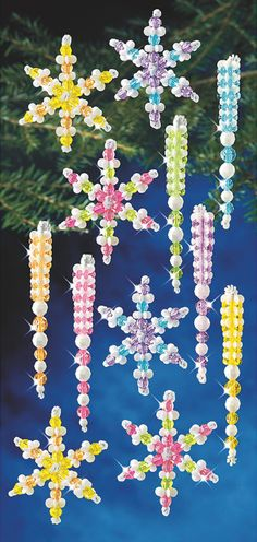 Use beads and chenille stems to make snowflakes and icicle ornaments for the winter season!