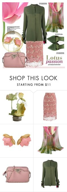 """Lotus passion"" by sara-cdth ❤ liked on Polyvore featuring Pink Lotus, Pier 1 Imports, Chicwish, Oscar de la Renta, WithChic, Valentino, Haider Ackermann and Burberry"