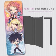 New Fairy Tail Bookmark featuring Natsu, Lucy, and Grey! on Etsy, $3.00