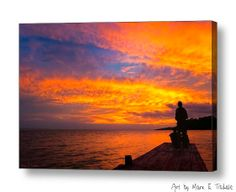 Fiery Sunset Farewell - Lake Nicaragua Landscape art by Mark E Tisdale - amazing skies as the day ends in Central America