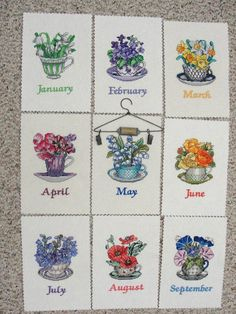 Teacup Posies Calender  Link to free patterns: http://www.vsccs.com/Sample%20Designs/SampleDesigns.html