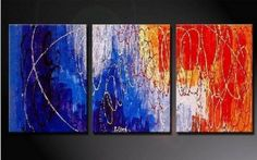 Amazon.com: 100% Hand Painted Oil Painting Abstract Art Large Modern Art 3 Piece Wall Art Canvas Art for Home Decoration (Unstretch No Frame): Home & Kitchen $78