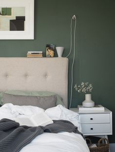 Maximise your storage beds with a Button and Sprung Storage Ottoman. Photography & Styling by Cate St Hill Beige Walls Bedroom, Sage Bedroom, Bedroom Green, Green Rooms, Bedroom Decor, Feature Wall Living Room, Feature Walls, Bed Frame Design, Natural Bedroom