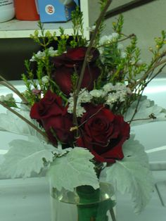 Red and grey mini bouquet