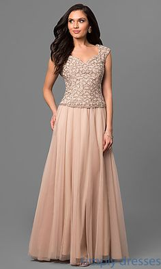 Cap-Sleeve Long Mother-of-the Bride Formal Dress with Beading